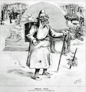 Père Noël dans la neige, muni de sa hotte et de sa longue canne.