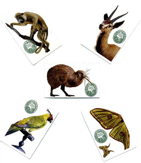 Cinq tickets représentant chacun un animal différent