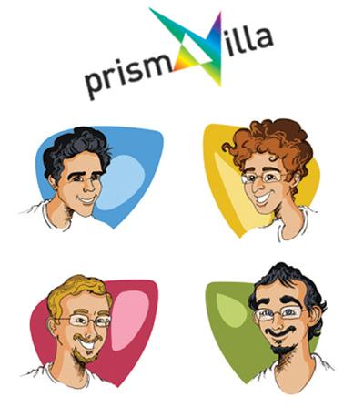 Logo Prismavilla et les quatre fondateurs