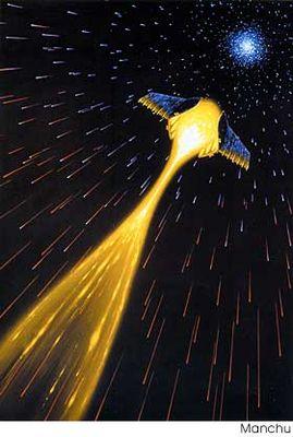 vaisseau spatial voyageant à la vitesse de la lumière