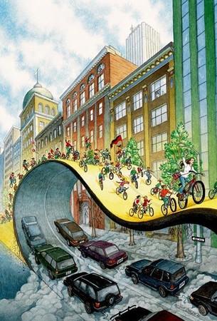 Une file de vélos roule sur une rue repliée sur elle-même et qui masque les voitures.