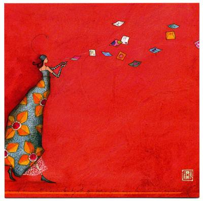 Des enveloppes s'échappent des mains d'une jeune femme portant une longue robe orientale