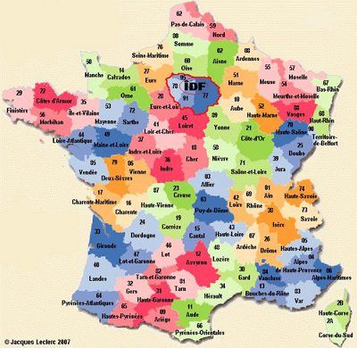 Carte de France départements