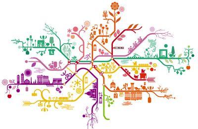 Lignes de métro toutes en couleurs et toutes en fleurs