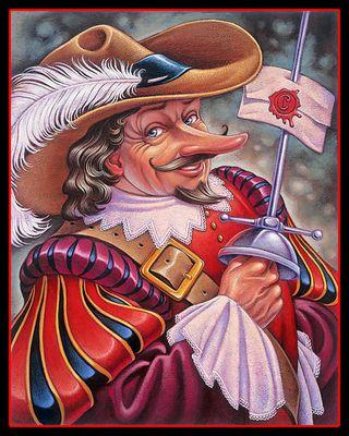 Cyrano de Bergerac aux yeux rieurs et tenant une enveloppe par son épée