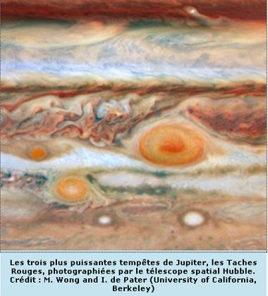 Les trois plus puissantes tempêtes de Jupiter, photographiées par le télescope spatial Hubble