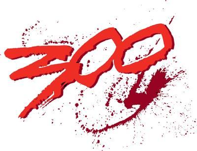 Logo du film 300 sur fond de tâches de sang