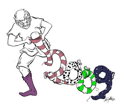 Sirtin enfile une série de chaussettes qui se transforment au chiffre 2009