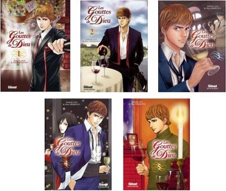Les cinq premiers tomes du manga Les Gouttes de Dieu