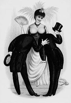 Seins d'une femme qui sont en fait les têtes chauves de deux hommes regardant les seins