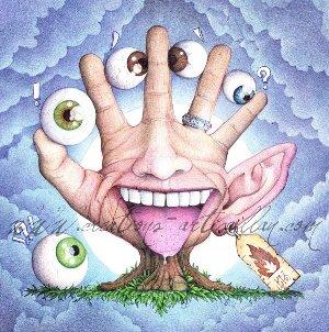 Des yeux entres les doigts d'une main, un nez et une bouche tirant la langue sur la paume de la main, une oreille placée après le petit doigt