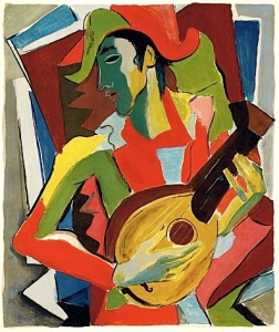 Arlequin jouant de la guitare, peinture de Severini