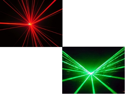 Rayons laser rouge et vert