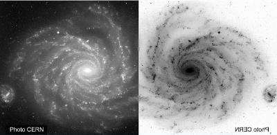 Une galaxie et son miroir en négatif