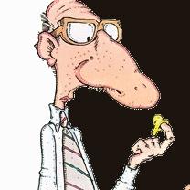 Un homme au grand nez regarde sa crotte de nez
