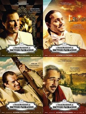 4 affiches du film représentant un acteur différent