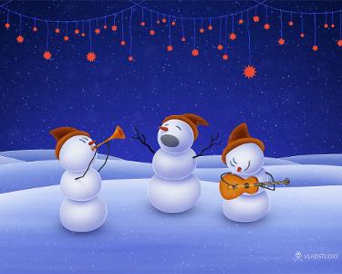 Bonhommes de neige jouant de la musique sous une guirlande d'étoiles