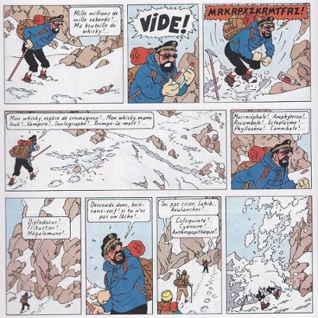 Chute de neige sur la tête du capitaine Haddock suite à ses jurons
