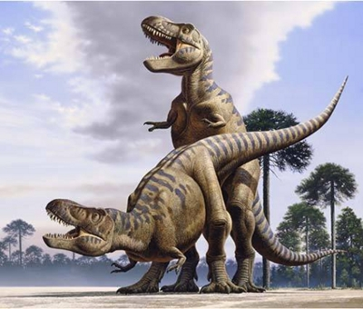 Accouplement de deux dinosaures