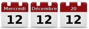 Trois calendriers représentant chacun le chiffre douze