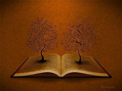 Deux arbres sortent d'un livre ouvert