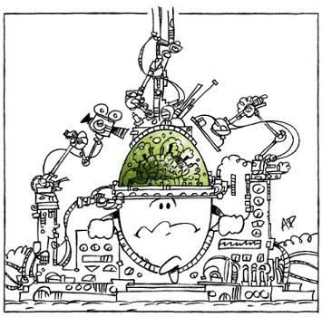 Cerveau d'un œuf scruté par des machines