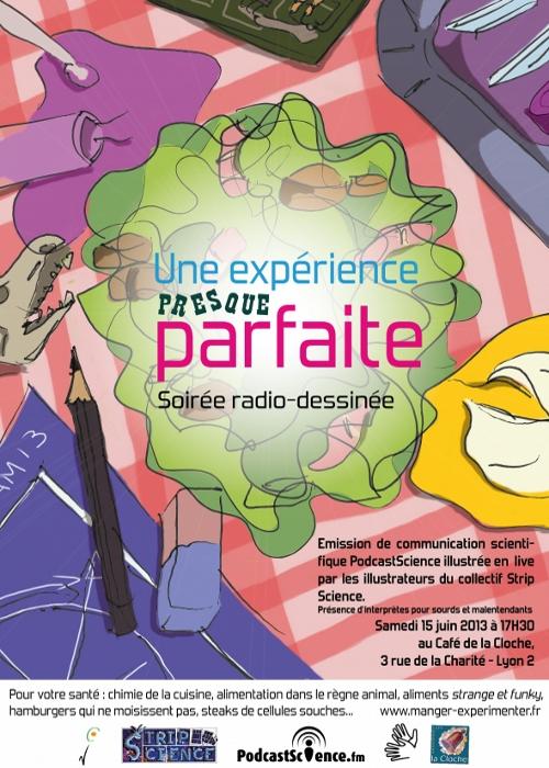 Affiche de la soirée radio-dessinée Une expérience presque parfaite