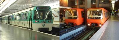 Une rame du métro parisien et une rame du métro lyonnais