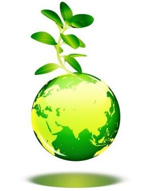 Arbre poussant sur une planète verte