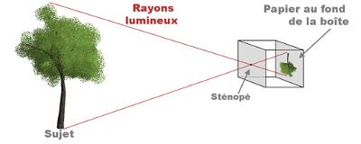 Trajectoire des rayons lumineux dans un sténopé