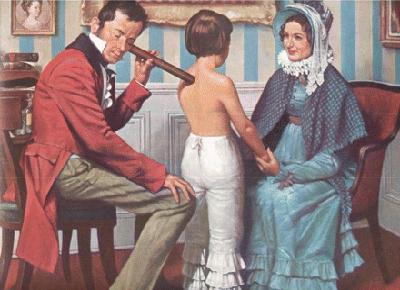 Auscultation d'un jeune garçon par Laennec muni de son tube en bois