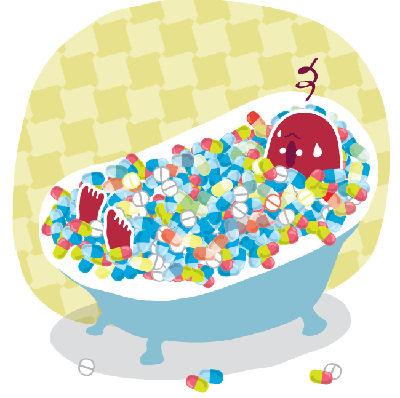 Dessin d'un humain qui prend un bain de médicaments