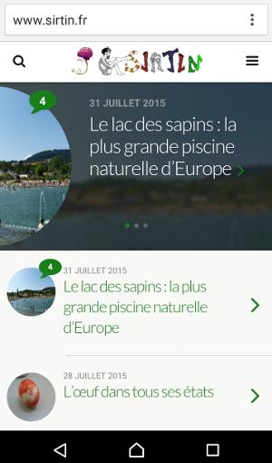 capture d'écran de Sirtin sur smartphone