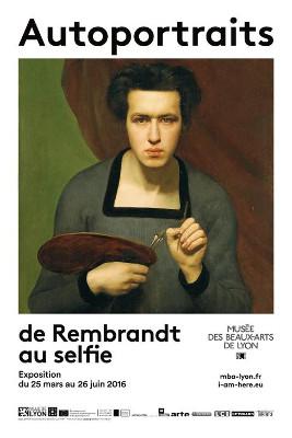 Affiche de l'exposition Autoportraits de Rembrandt au selfie